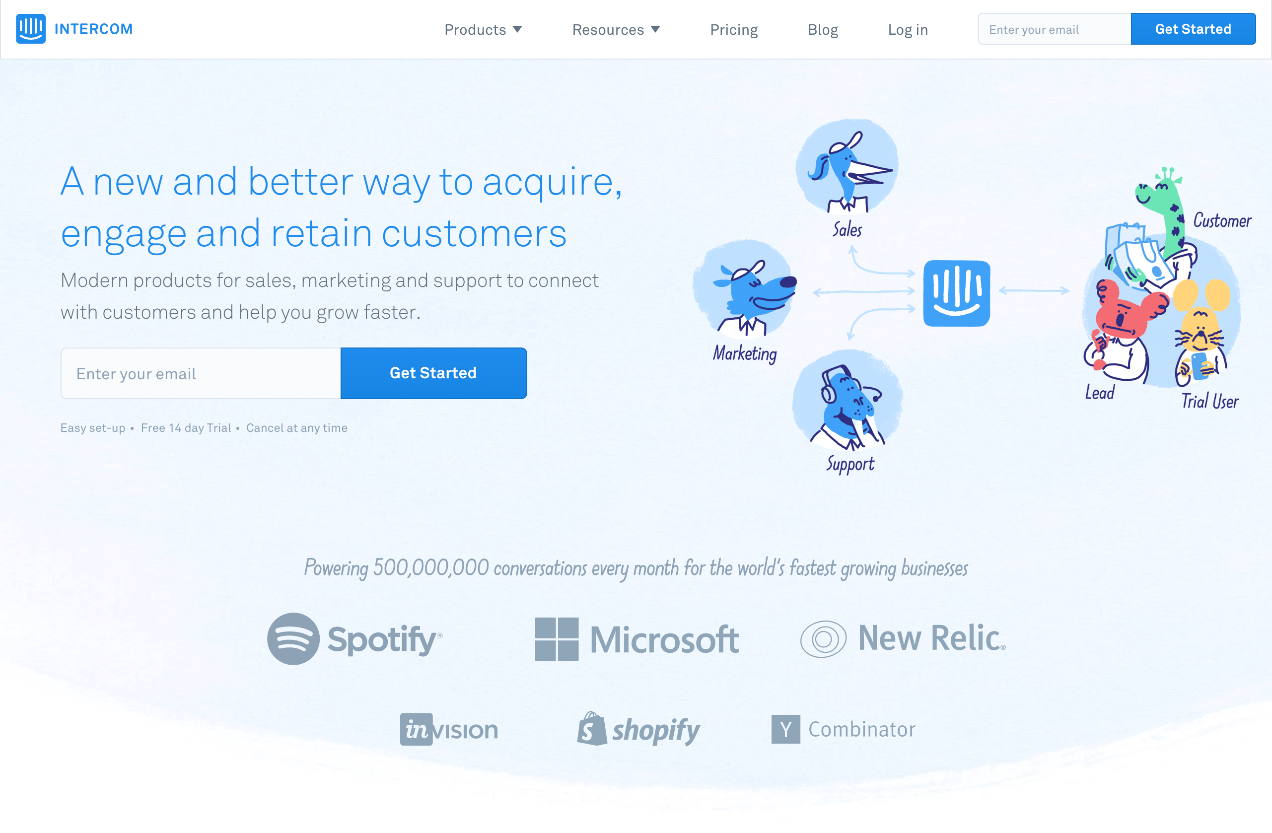 Screenshot of illustration at Intercom