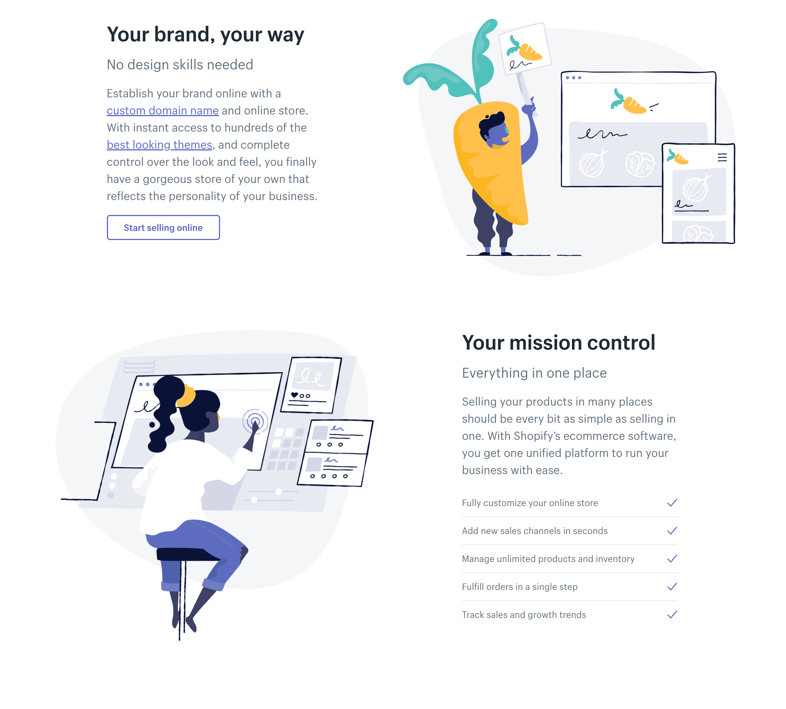 Screenshot of illustration at Shopify