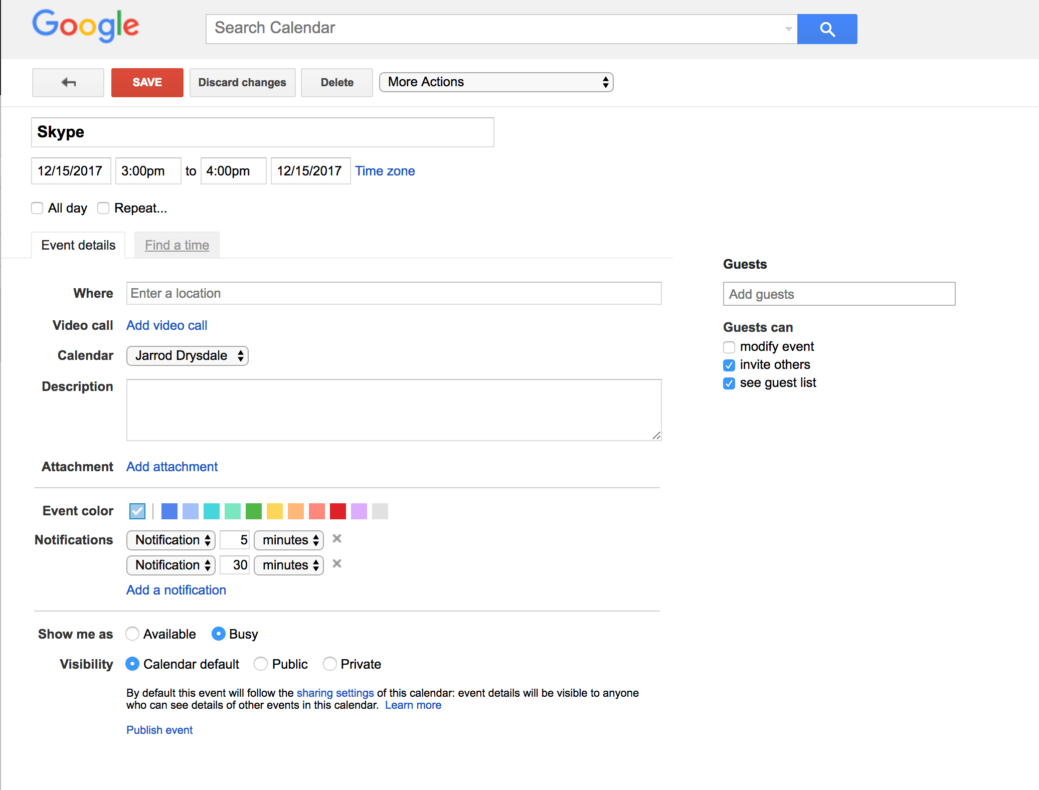 Screenshot of the new Google Calendar design
