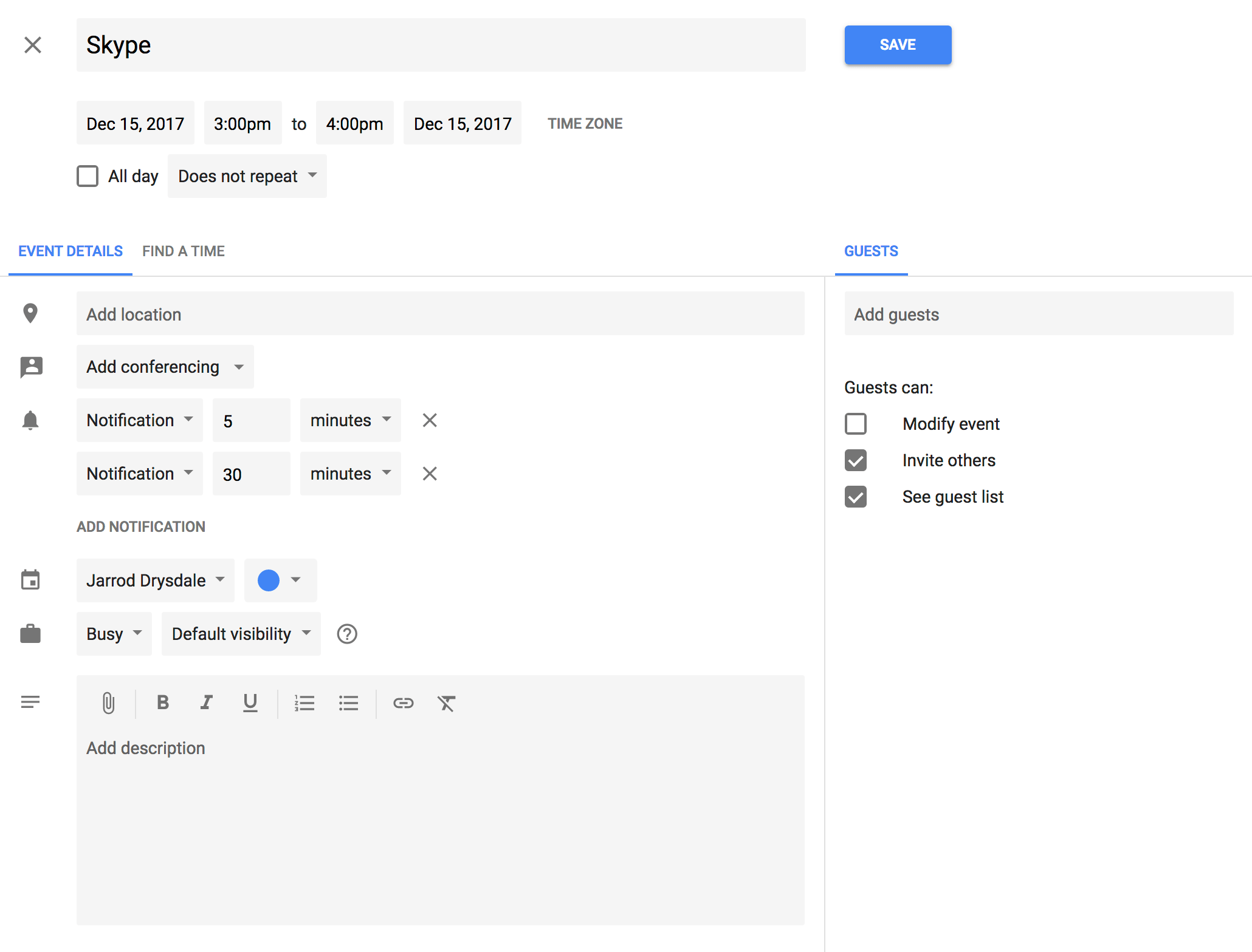 Screenshot of the old Google Calendar design