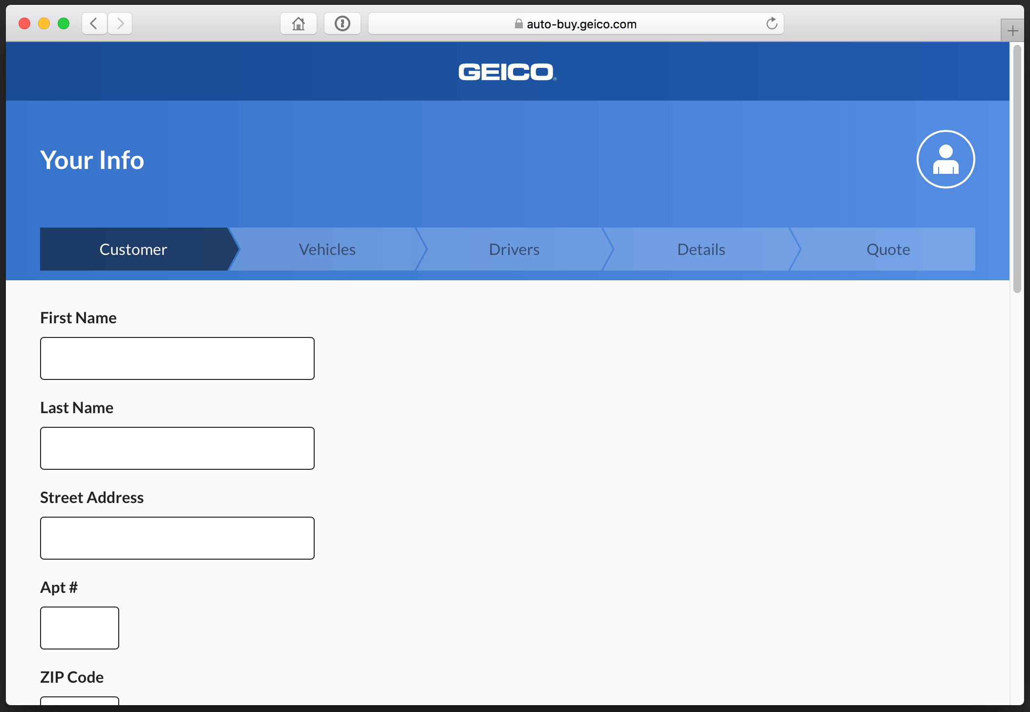 Screenshot of Geico's form design