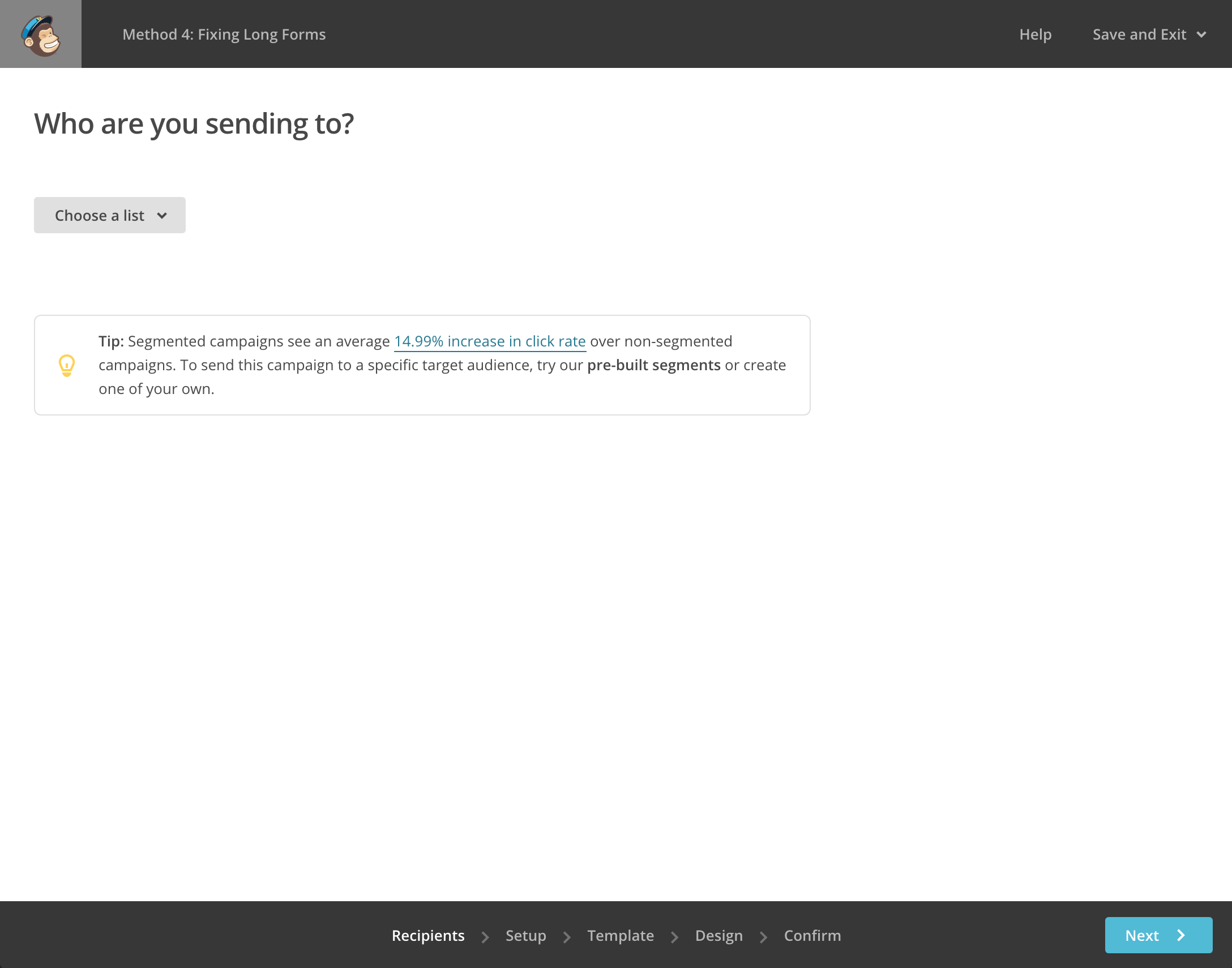 Screenshot of Mailchimp's form design