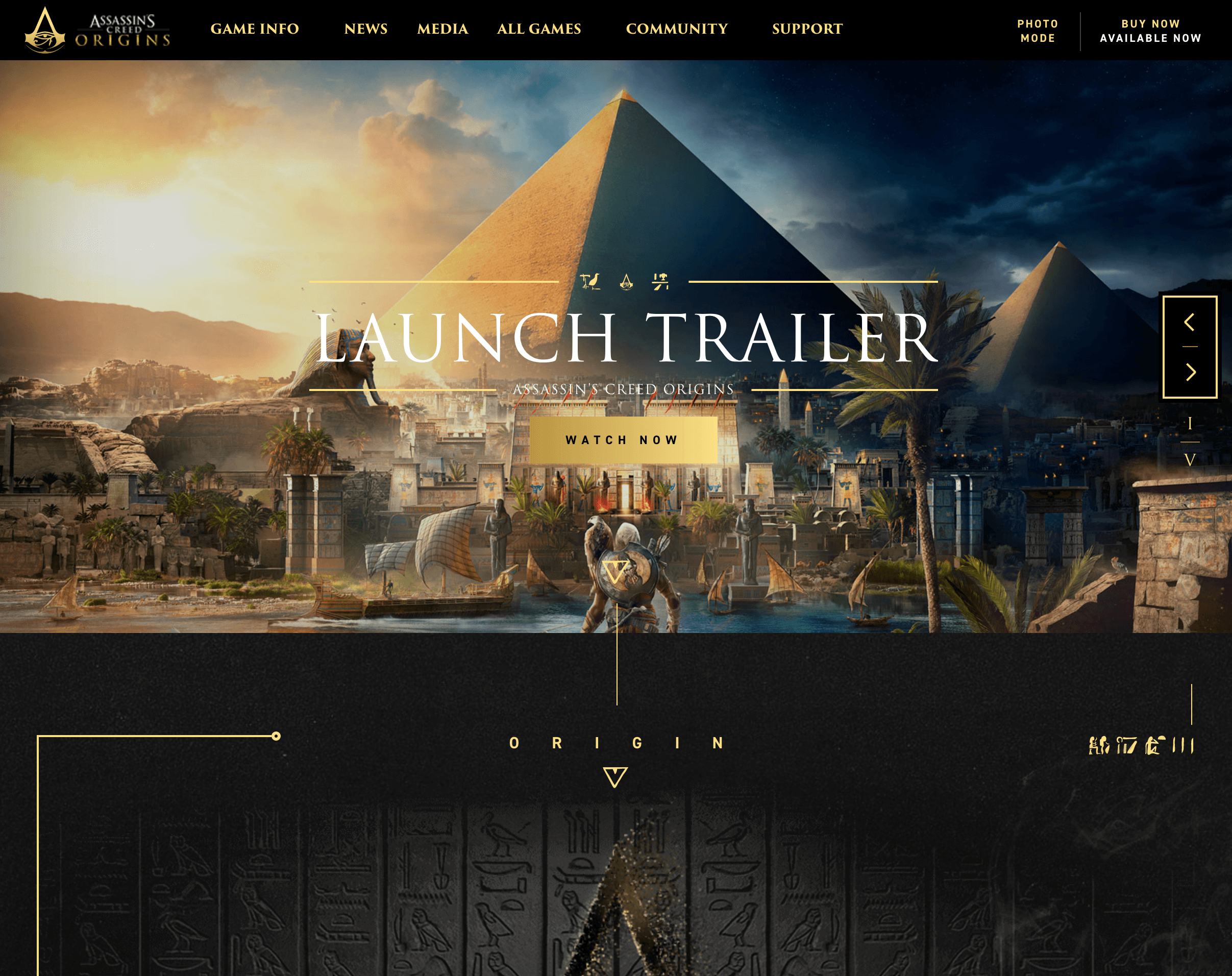 Screenshot of Ubisoft's website