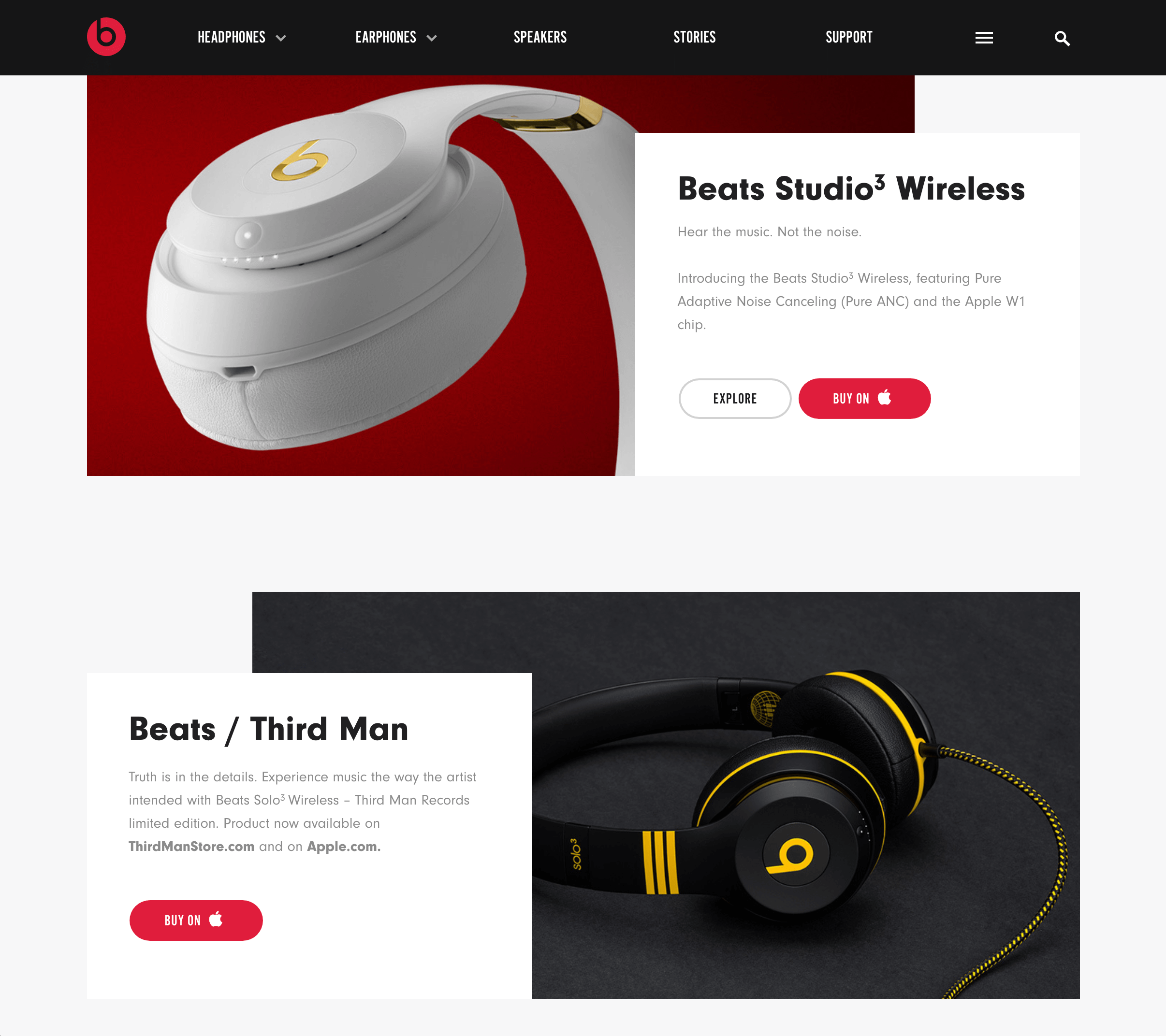 Another screenshot of the Beats by Dre website