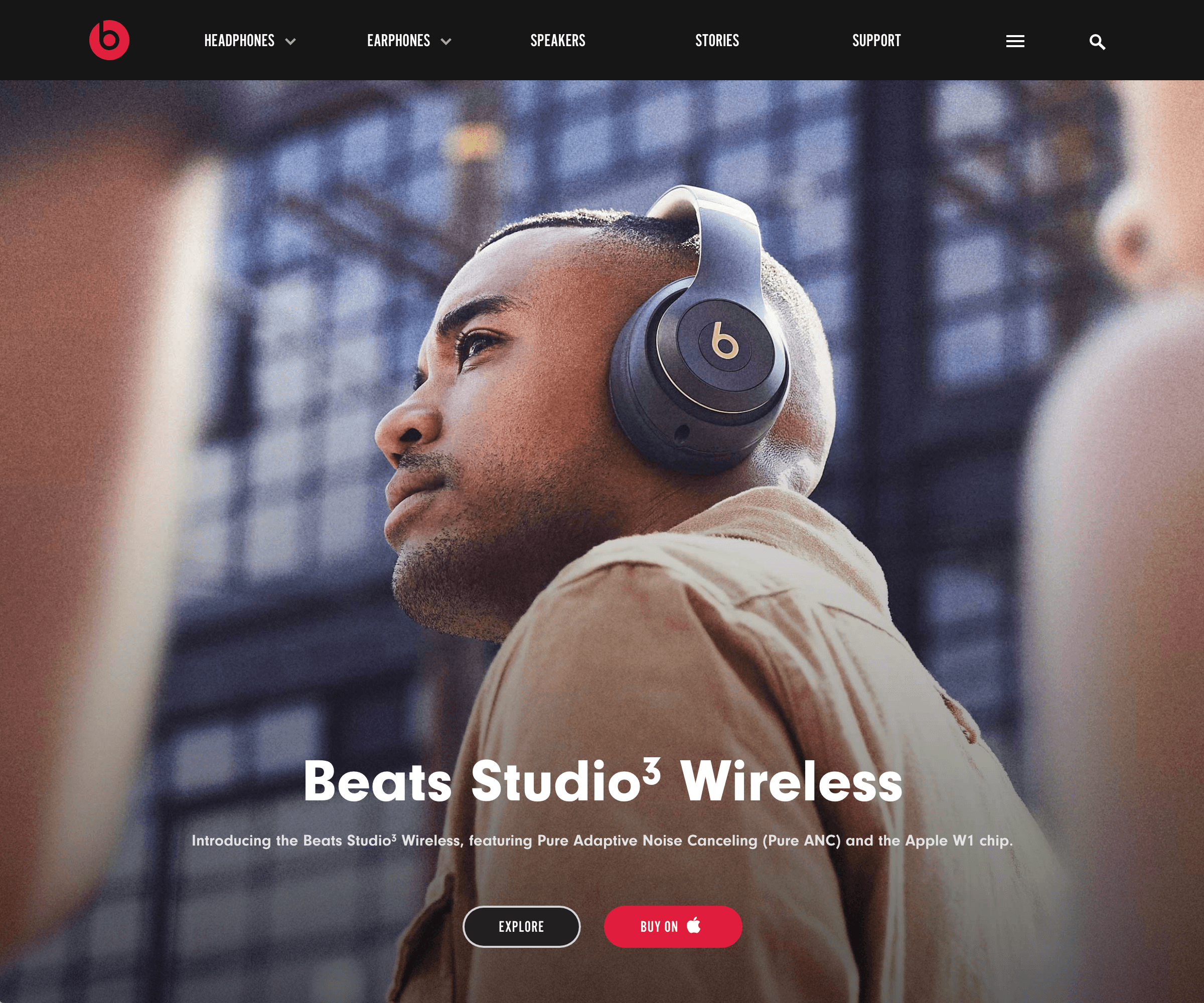 Screenshot of the Beats by Dre website