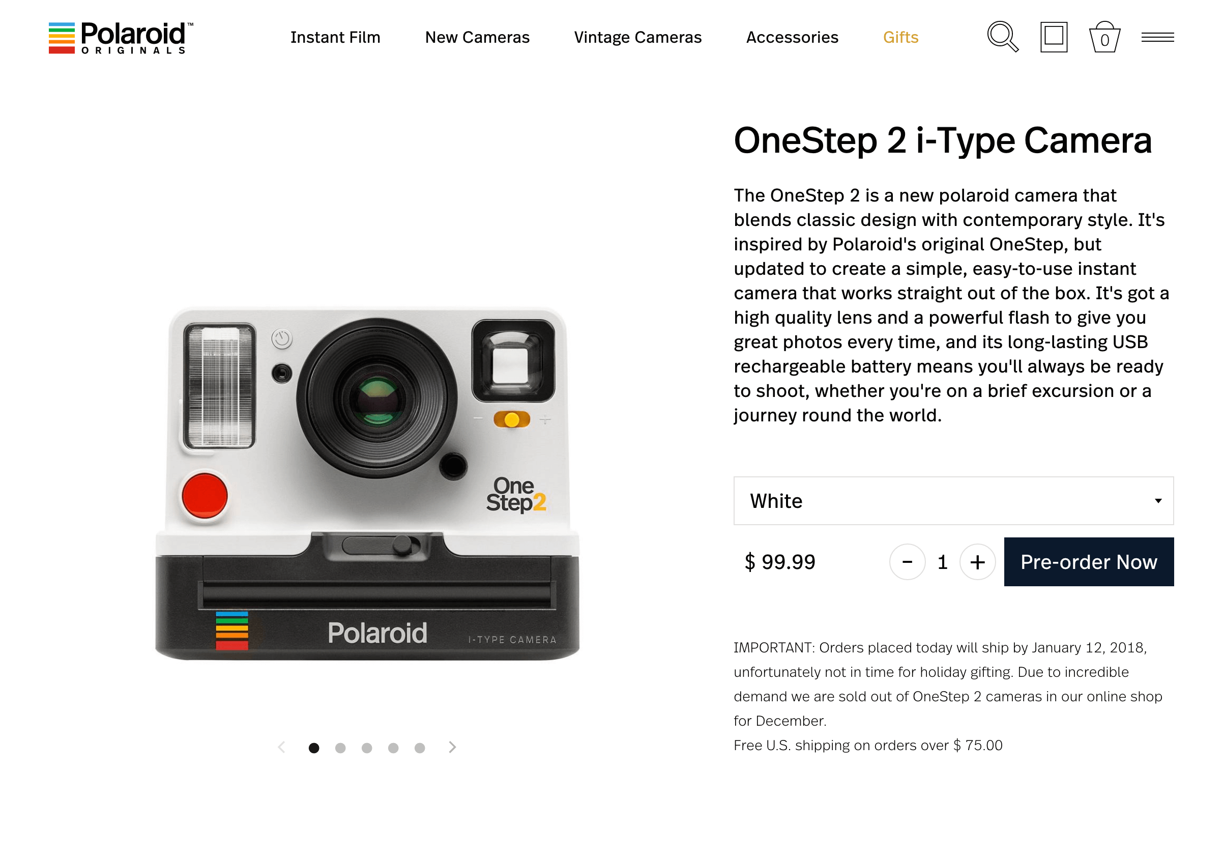 A 3rd screenshot of the Polaroid website