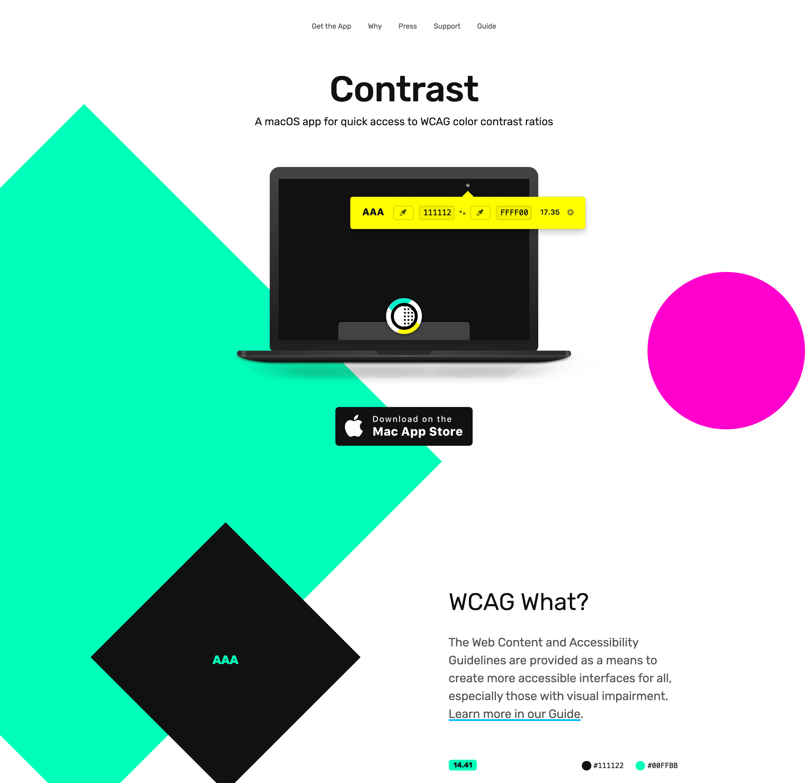 Screenshot of the Contrast app design's use of simple shapes
