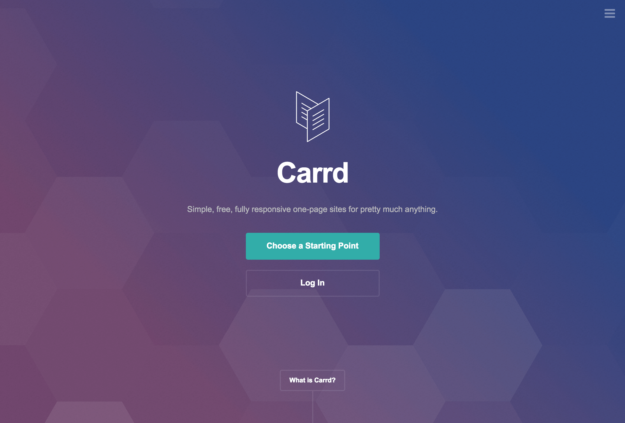 Example of a gradient effect in Carrd's design