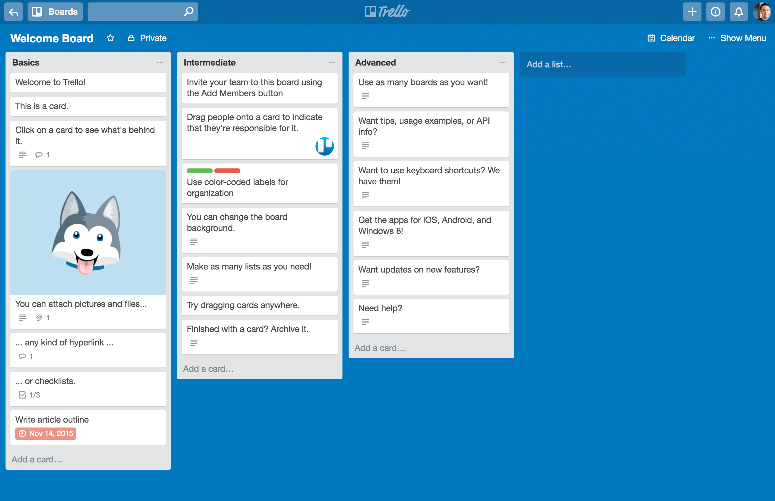 Example of depth effects in Trello's design